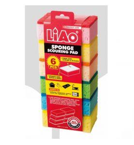 6 Eponges synthétiques de différentes couleurs de marque LIAO